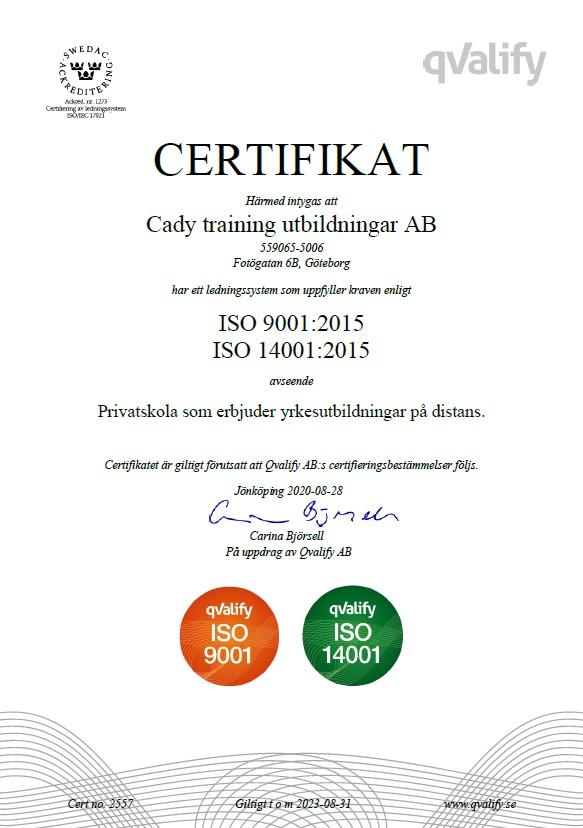 ISO TR och certifikat